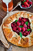 Raspberry galette with cream