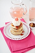 Pancakes with yogurt ice cream and rhubarb compote