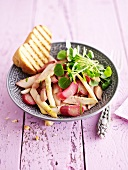 White asparagus and rhubarb salad with watercress