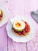 Rhubarb tart with sour cream parfait