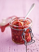 Rhubarb chutney in a preserving jar