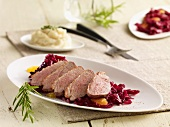 Duck breast with red cabbage