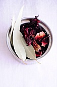 Dried eucalyptus leaves and hibiscus flowers for tea
