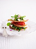 A wild herb salad and goat's cream cheese sandwich