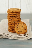 Chocolate chip cookies, stacked