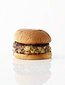 Cheese Stuffed Hamburger on a White Background