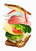 A sandwich showing the order of the filling