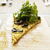 Farinata con funghi e cipolla (chickpea flatbread, Italy)