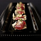 "Ahi Tuna Hors d""Oeuvres with Champagne Gelee on Crispy Rice Tuilles"