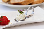 A spoonful of raw milk goat's cheese and thyme