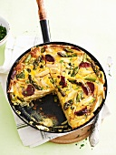 Spanish tortilla with asparagus and chorizo