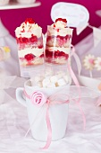 Raspberry and vanilla trifle in push-up moulds (push-up cake pops)