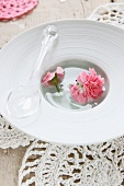 A plastic spoon and carnations floating in a dish