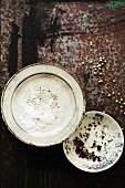 Salt and Peppercorns on Plates