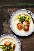 Pan Seared Sea Scallops with Zucchini
