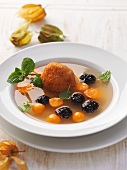 Quince soup with quark croquettes