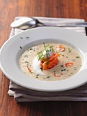 Mustard soup with salmon and dill