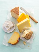 Cheeses, herbs, yoghurt and bread.