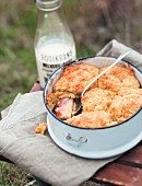 Apple cobbler for an autumn picnic