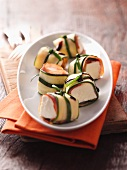 Courgette rolls with ham and cheese