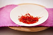 Saffron threads in a dish