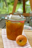 A jar of apricot jam