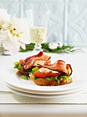 Open BLT sandwiches for Christmas