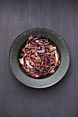 Red cabbage and carrot salad with walnuts