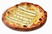 A cheese pizza with courgette strips