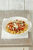 Shell pasta with a minced meat and chickpea ragout