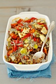 Vegetable bake with buckwheat and dill sauce