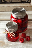 Raspberries preserved in syrup