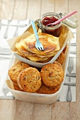 Cranberry muffins and ricotta pancakes with jam