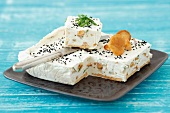 Quark terrine with chanterelle mushrooms, chives, crackers and caraway seeds