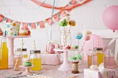 Party Scene with Cake Pops, Cupcakes, Drinks, Macaroons, Gifts and Decorations