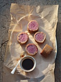 Saddle of venison wrapped in spice bread