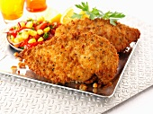 Breaded chicken breast with salsa