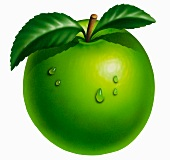 A bright green apple with leaves and water drops (illustration)