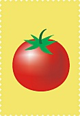 A tomato against a yellow background (illustration)