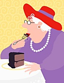 An old lady eating a slice of chocolate cake (illustration)