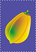 A papaya against a purple background (illustration)