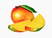 A whole mango and two slices of mango (illustration)