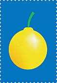 A lemon with a stem against a blue background (illustration)