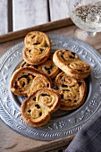 Savoury palmiers with olives, thyme and parmesan