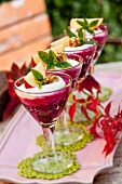 Beetroot mousse with apples and walnuts