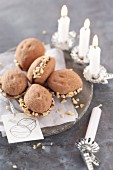 Walnut biscuits with a nougat filling