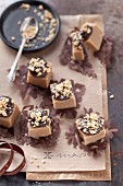 Peanut butter fudge topped with chocolate