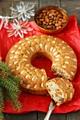 A ring-shaped almond cake for Christmas
