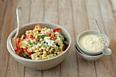 Soya bean salad with green beans, peppers, avocado and a yoghurt dressing