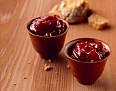 Bowls of banana and cassis jam
